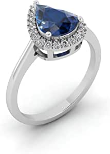 18k White Gold Blue Sapphire Diamond Fashion Ring US 6.5