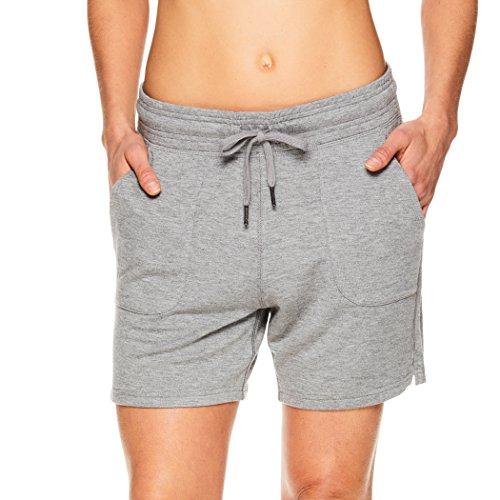 (Gaiam Women's Warrior Yoga Short - Bike & Running Activewear Shorts w/Pockets - Flint Grey Heather, X-Large)