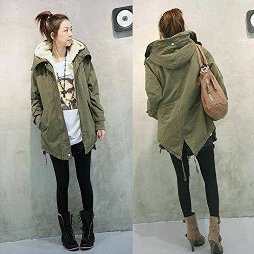 in Army Donne pile M Koly cappotto inverno XXXXXL caldo del rivestimento cappuccio Taglia Parka con Top Green TZXTdxwIq