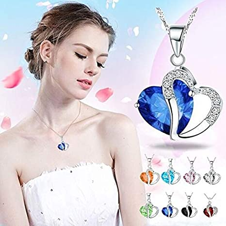 Hot Sale NDGDA Women Heart Crystal Rhinestone Silver Chain Pendant Necklace Jewelry Dark Blue