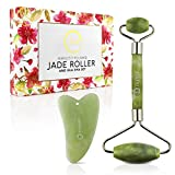 rejuvenate J'ade UPGRADED Durable Jade Face Roller with Gua Sha for Slimming and Reducing Skin Wrinkles Massage & Firming Rejuvenate Tool GREAT for Eyes and Neck 100% Natural - by Fushay.