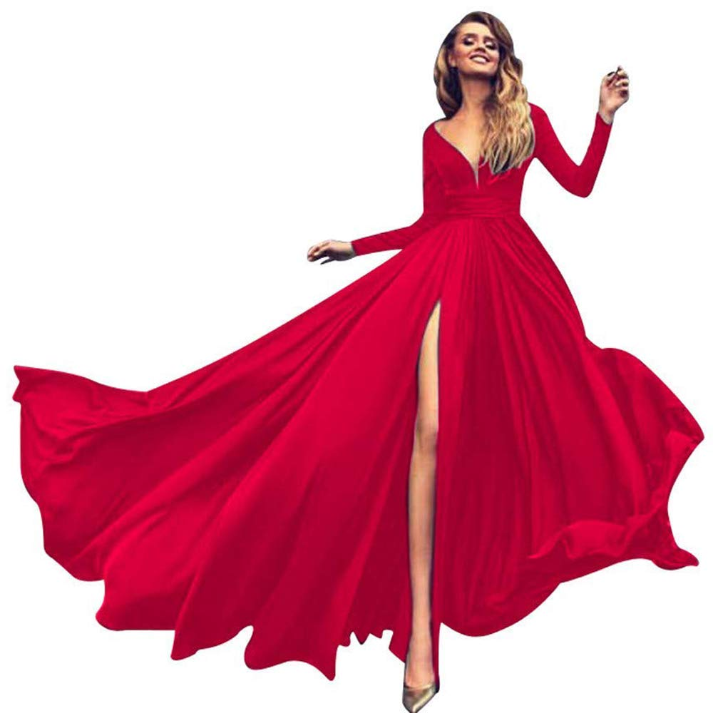 Red AnnaApparel Women Long Evening Gowns Wedding Prom Bridesmaid Dress Elegant Cocktail Party Dresses