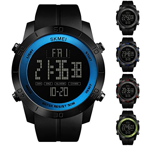 (Large Dial Outdoor Men Sports Watches LED Digital Wristwatches Waterproof Alarm Chrono Calendar Fashion Casual Watch 1142 (Color : Black Dial+Blue Diaplay))