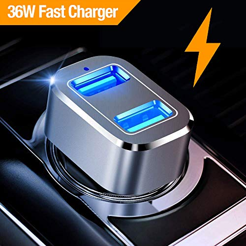 n Quick Charge 3.0 36W Dual USB Car Charger Adapter Fast Car Charging Compatible Samsung Galaxy Note 9 S8 S9 Note 8, iPhone X 8 7 6s Plus, iPad, iPad Air 2/Mini 3, Pixel, LG, HTC ()