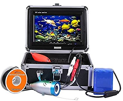 "Underwater Fish Finder Anysun® Professional Fishing Video Camera with 7"" TFT Color LCD Hd Monitor 700tvl CCD 15M Cable Length with Carry Case, Fun to See Fish Biting"