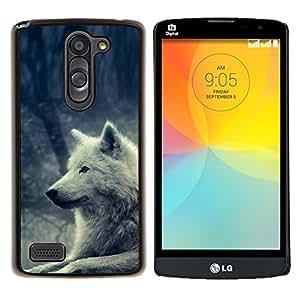 "Be-Star Único Patrón Plástico Duro Fundas Cover Cubre Hard Case Cover Para LG L Prime / L Prime Dual Chip D337 ( White Wolf Magical Forest perro Naturaleza"" )"