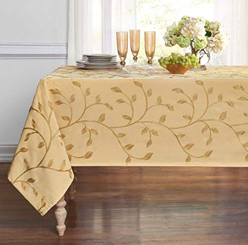 GoodGram Luxurious Heavy Weight Madison Leaf Embroidered Fabric Tablecloth Assorted Colors (Gold, 54 in. x 84 in. Rectangle (6-8 -