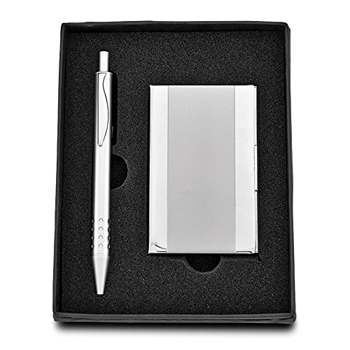 Best Designer Jewelry Silver-tone Business Card Case & Pen 2-piece Gift Set