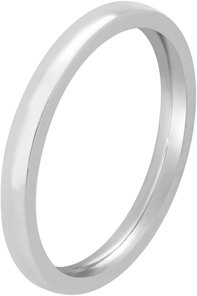 2mm 14K White Gold Traditional Classic Mens Comfort Fit Wedding Band
