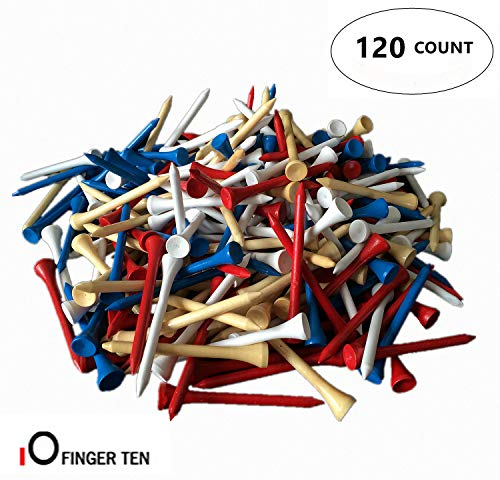 (FINGER TEN Golf Tees Wood 3 1 4 inch 1/4 2 3/4 Bulk 120 Count, Unbreakable Wooden 70 83 mm Color Blue Red White Wood for Men Women Kids (Mixed,)