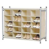 Yaheetech 5-Tier 20-Pair Shoe Rack for Closets,20-Compartment Nonwovens Stackable Free Standing Cube Organizer Portable & Durable W/Larger Capacity-Beige