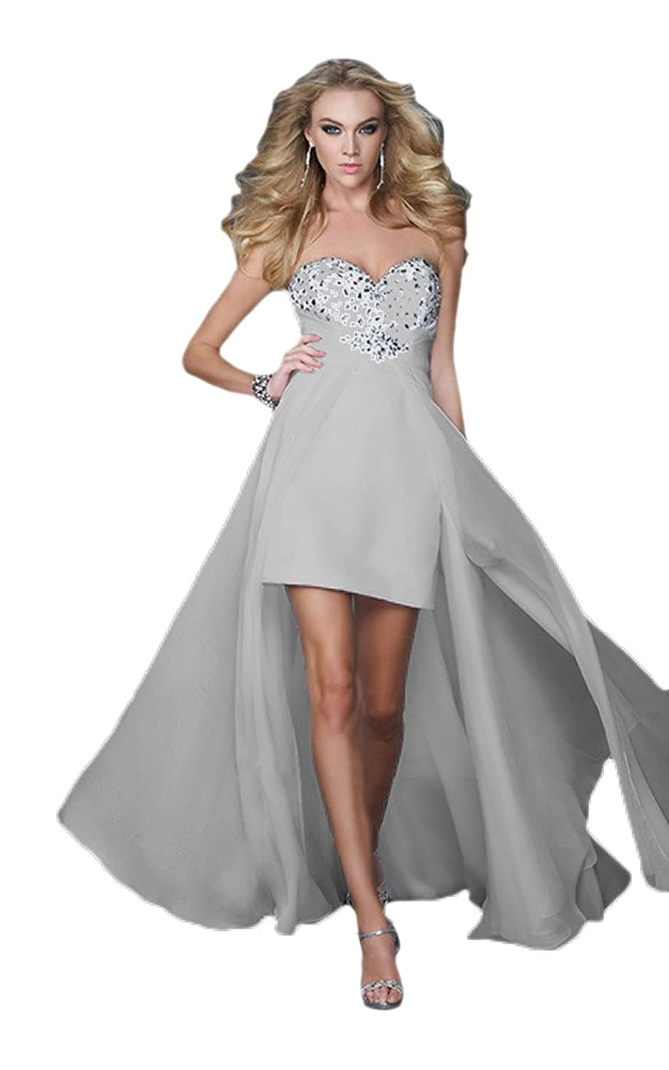 Vimans? Women's High Low Grey Chiffon Strapless A Line Princess Gowns