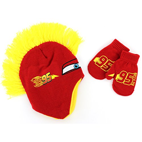 Disney Nickelodeon Toddler Boys Hat and Mittens Set (Yellow McQueen Mohawk) (Lightning Mcqueen Cap)