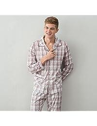 DMMSS Spring Autumn Men's Simple Thin Knitted Cotton Pajamas Set , 1 , xxl