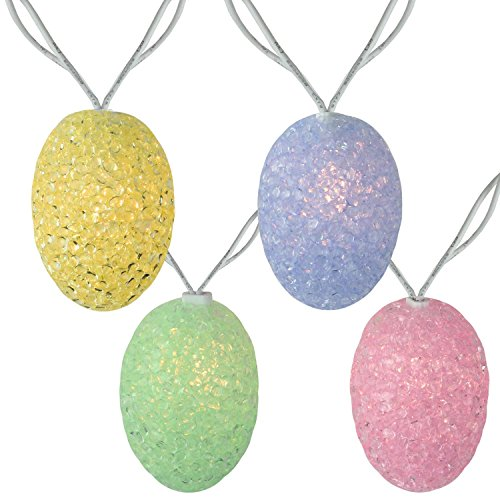 Sienna Set of 10 Pastel Colored Easter Egg Spring Holiday Lights - White - Eggs Pastel