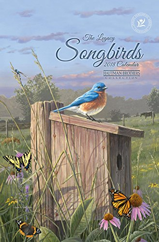 2018 12-Month Calendar Sheets with Clipboard, Songbirds