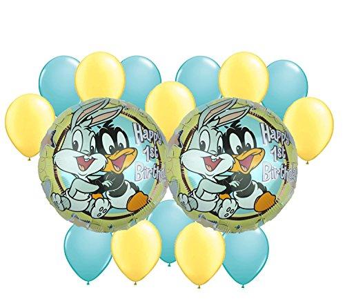 Baby Looney Tunes Happy 1st Birthday Balloon Bouquet 16 pc - Happy Birthday Tunes
