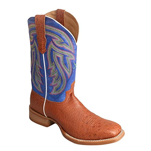 Twisted X Men'S Rancher Boot, Color: Brandy Smooth Ostrich/Avatar Blue, Size: 10 (Brandy Smooth)