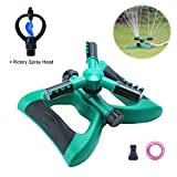 Morfone Lawn Sprinkler, Automatic 360° Rotating Adjustable Garden Water Sprinklers for Lawn Sprinkler System Covering Large Areas with 3 Arms Sprayer, Anti Leak Design