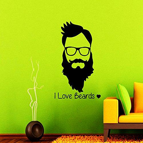 Wall Decals Barber Shop I Love Beard Hipster Decal Vinyl Sticker Barber Salon Decor Hairdressing Art Window Decals Home Art Murals