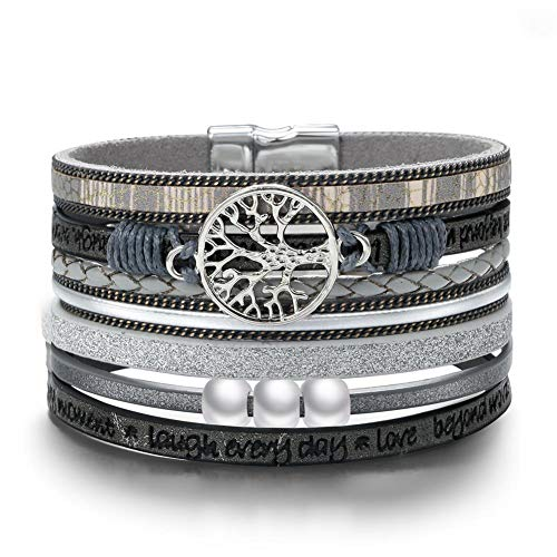 BRIGHT MOON Tree of Life Wrap Bracelet -(Unisex) Exquisite Gray Leather Handmade Braided Multilayer Cuff Magnetic Buckle Boho Bangle Bracelets for Women,Men,Mother's Day