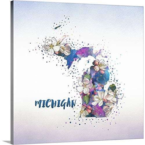Apple Blossom State Flower - Gallery-Wrapped Canvas Entitled Michigan State Flower (Apple Blossom) by Inner Circle 30
