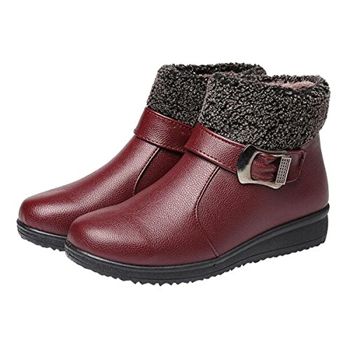 Boots Boots Flat 7 Hee Shoes Ankle Snow grand Red Warm Winter Fur Womens qIwwRz