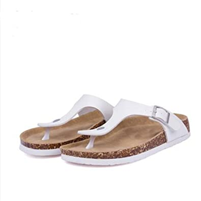 be28a70f87 YaMiFan Women's Casual Buckle T Strap Thong Strap Sandals Flip Flop Platform  Cork Sandals ...