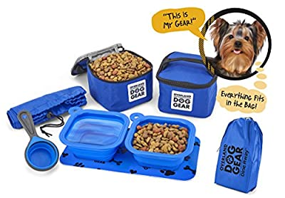 Dog Travel Food Set For Small Dogs - 7pk Including Collapsible Bowls, Carriers, Scooper, Place Mat, Bag from Overland Dog Gear