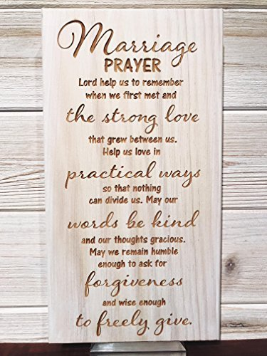 Marriage Prayer Wall Plaque Laser Engraved Personalized Custom Wood Sign