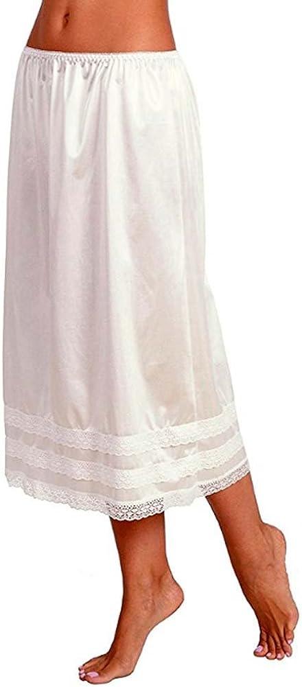 Women/'s Solid Smooth Lace Trim Half Skirt Slip Underskirt/L-XXXL