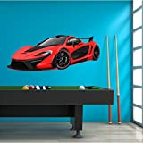 48'' Mclaren P1 Red Wall Decal Sticker HUGE Graphic Sports Car Hybrid Boys Bedroom Decor Removable Vinyl Mural Man Cave Fathers Day Gift