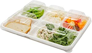 Pulp Tek Lids For 5 Compartment Food Trays, 100 Dome Lids For Bagasse Lunch Trays - Food Trays Sold Separately, Airtight, Clear Plastic Lids For Disposable Cafeteria Trays - Restaurantware