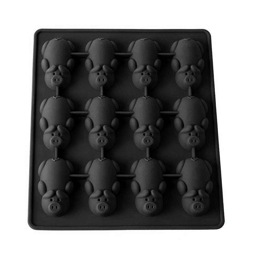Silicone Baking Molds Piggy Model Food Grade Non-Stick Silicone 12-Cavity Biscuits Mold BPA Free Baking Supplies Tools for Making Biscuits Cake Bread Baking (B)
