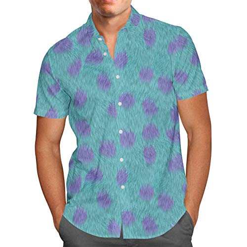 Sully Fur Monsters Inc Disney Inspired Mens Button Down Short Sleeve Shirt - XL -