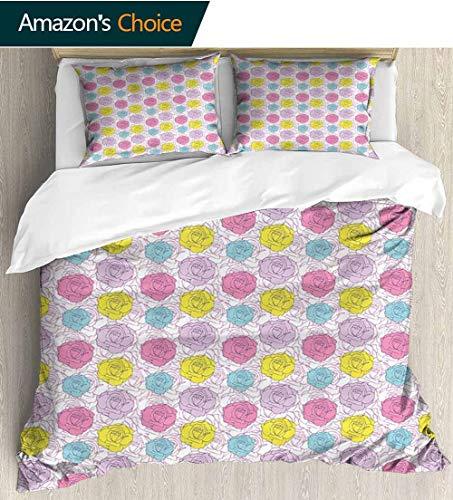 shirlyhome Vintage Kids Quilt 3 Piece Bedding Set,Abstract Romantic Rose Bouquet Colorful Vignette Foliage Arrangement Spring Blossom Bedding Sets,1 Duvet Cover,1 Pillowcase 104