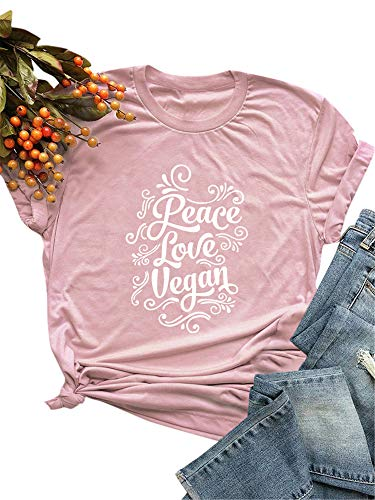 Festnight Women Funny T-Shirt Casual Cotton Shirt Peace Love Vegan Print Short Sleeve Tee Tops O-Neck Loose Plus Size Blouse Pink