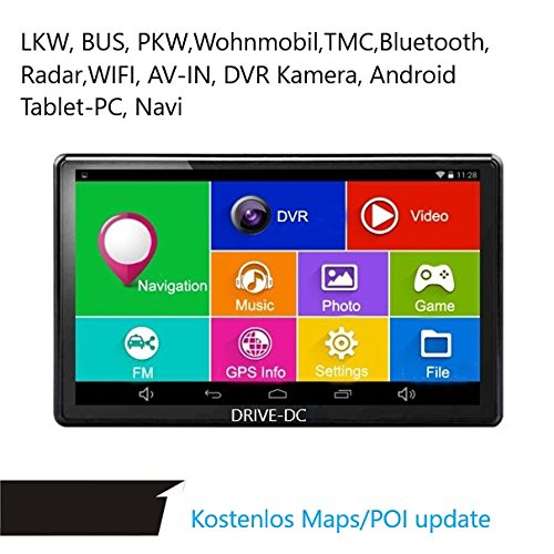 7  Pulgadas GPS Navi y Tablet con DVR Cá mara para camiones, coches, Front, wohmobil, BT, TMC, Android 4.4. gratuita Map Update, Radar, WiFi, AV IN, 512  MB, Deutsche No Comercial China 512 MB DRIVE-TECH