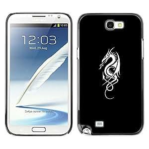 Flagon Fuego tribal Negro Blanco Minimalista- Metal de aluminio y de plástico duro Caja del teléfono - Negro - Samsung Note 2 N7100