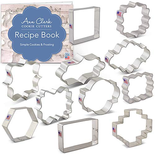 - Plaque, Frame & Tile Cookie Cutters Set with Recipe Booklet - 11 piece - Variety Pack - Ann Clark - USA Made Steel