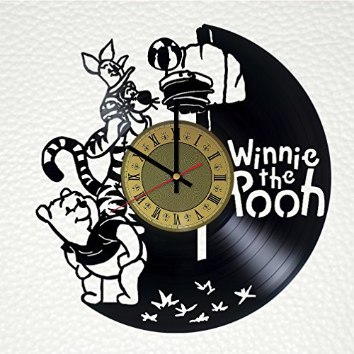 STP Cat Winnie The Pooh Vinyl Wall Clock - Teddy Bear Handmade Artwork - Home Bedroom Living Kids Room Nursery Wall Decor - Great Gifts Idea for Birthday, Wedding, Christmas - Customize Your Clock