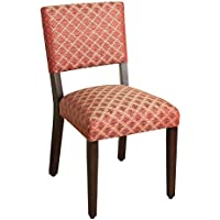 Kinfine Open Back Accent Dining Chair, Deep Red Diamond Motif