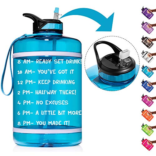 HydroMATE 1 Gallon Straw Motivational Water Bottle with Time Marker Large BPA Free Jug Handle Time Marked 5 Drink Marking Measures to Track Daily Water Intake One Gallon Hydro MATE (Gallon, Turquoise)