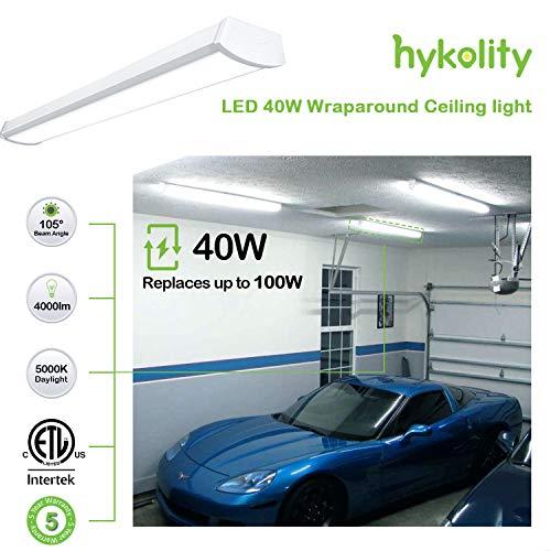 Hykolity 4FT 40W 4000lm Linear LED Wraparound Light, Flushmount shop Light for Garage, Surface Mount Ceiling light for Workshop, Office, Basement, 5000K Daylight 64W Fluorescent Equivalent ETL -4 Pack