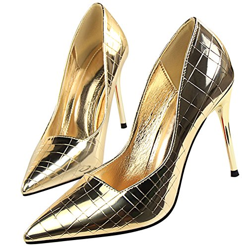 BIGTREE High Heels Women Dress Pumps Court Shoes by Plaid Stiletto Pointed Toe Court Shoes Shoes Gold 6eI2sgBaz