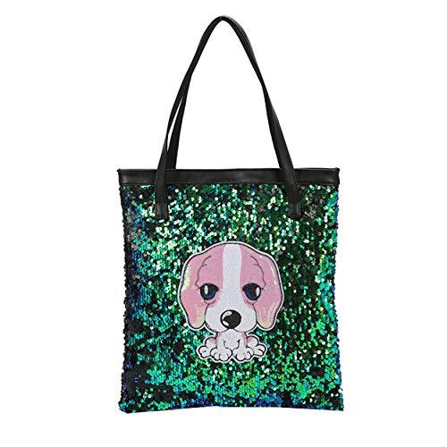 Women Mermaid Sequins Bucket Bag, Girl Fashion Reversible Glitter Leather Shoulder Tote Female Bling Bling Handbag Dog Green