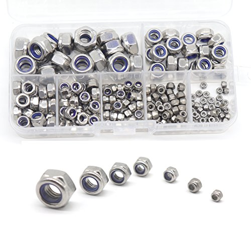 - cSeao 210pcs Nylock Hex Self Locking Nuts Assortment Kit, Nylon Inserted Nuts, 304 Stainless Steel, Self Clinching Nuts