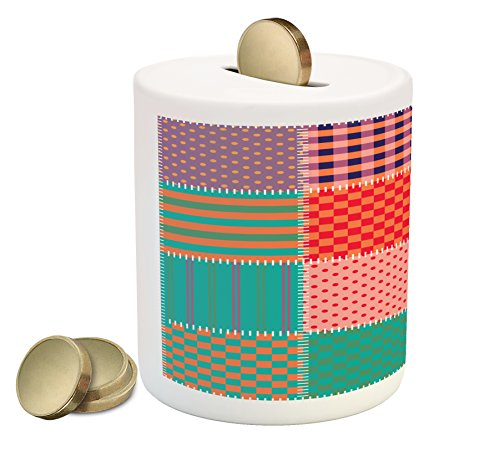 Lunarable Patchwork Piggy Bank, Square Patches of Geometric Textures Together to Create Patchwork Composition, Printed Ceramic Coin Bank Money Box for Cash Saving, Multicolor