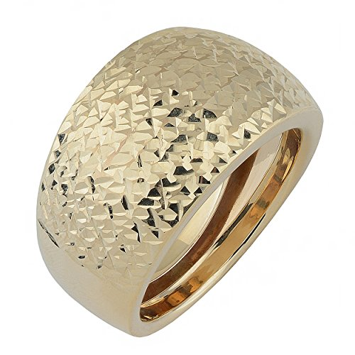 Kooljewelry 10k Yellow Gold Diamond-Cut Bold Dome Ring (Size 8)