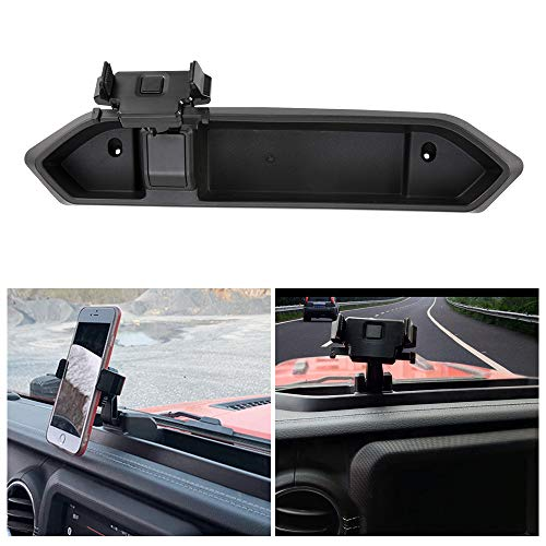 BUNKER INDUST Car Mount Phone Holder with Storage Box for Cell Phones and Mini Tablets,Fits for Jeep Wrangler JL 2018 2019 (Best Mini Cell Phone 2019)